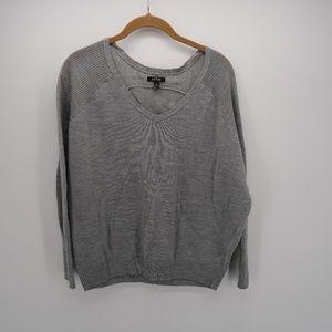 Apt. 9 Gray V-Neck Long Sleeve Pullover Sweater